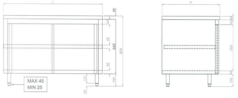 Edelstahl Arbeitsschrank ECO 16x6