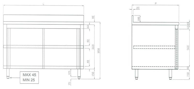 Edelstahl-Arbeitsschrank ECO 15x7 mit Aufkantung