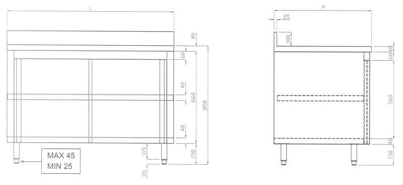 Edelstahl Arbeitsschrank ECO 14x6 mit Aufkantung