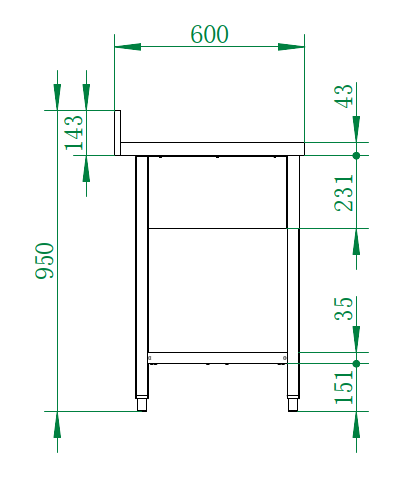 Spültisch Basic 16x6 mit 2 Becken links
