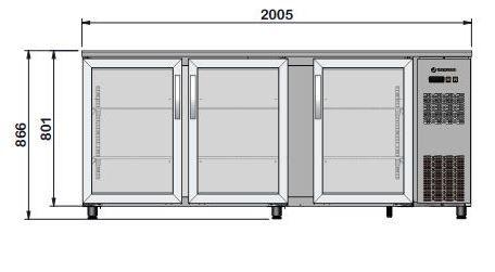 Barkühltisch PROFI 3/0 - mit Glastüren