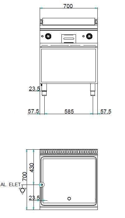 Elektrogrillplatte Dexion Serie 77 - 70/70 glatt