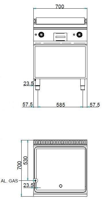 Gasgrillplatte Dexion Serie 77 - 70/70 glatt