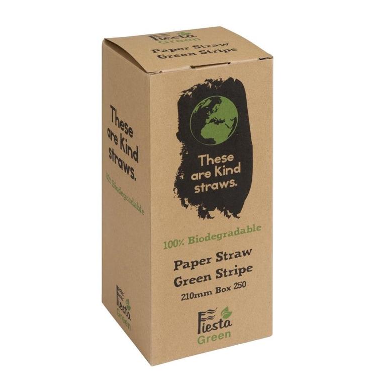 Fiesta Green Papiertrinkhalme 210 mm - weißgrün