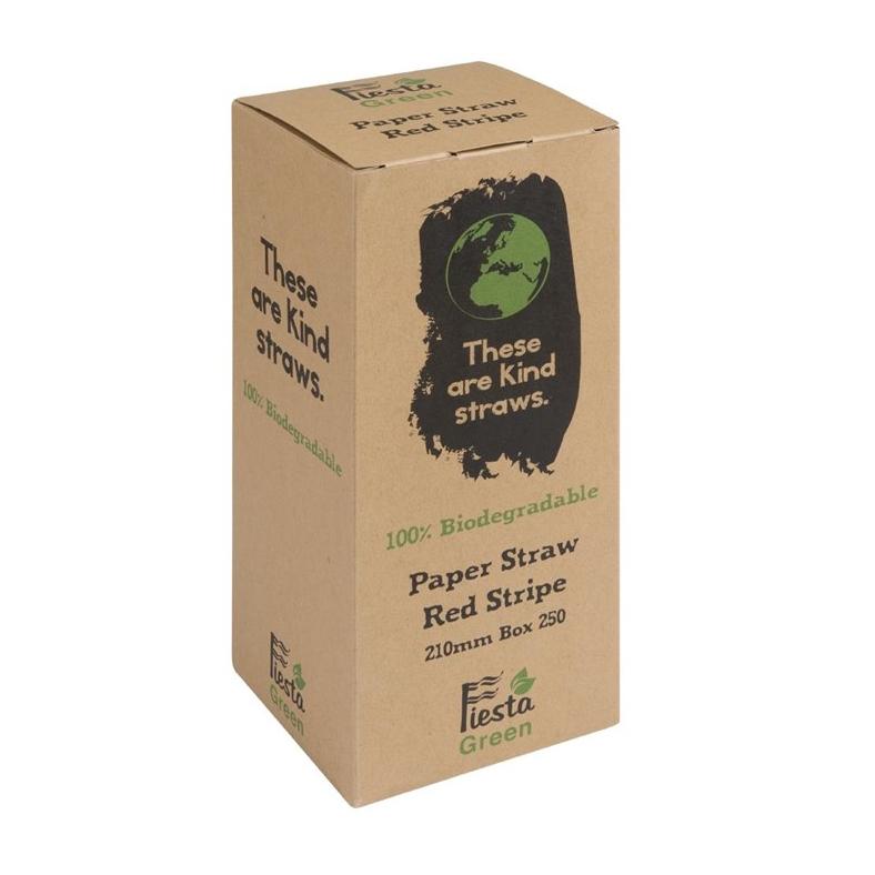 Fiesta Green Papiertrinkhalme 210 mm - weißrot