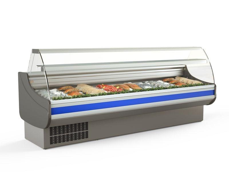 Fischkühltheke Profi 30x9 - gebogenes Frontglas