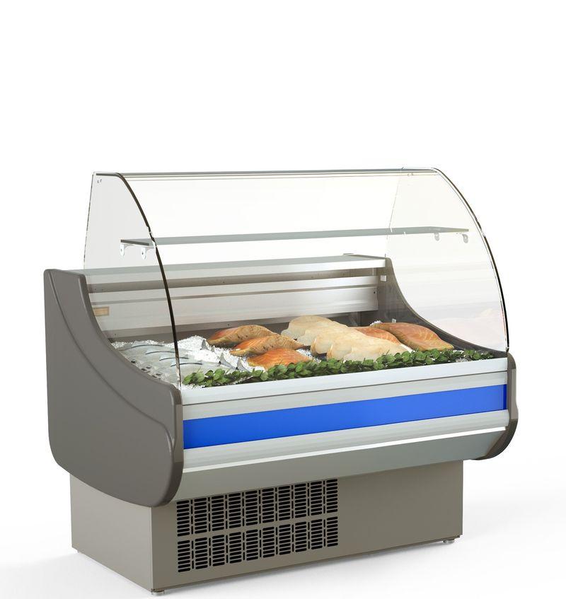 Fischkühltheke Profi 10x9 - rundes Frontglas