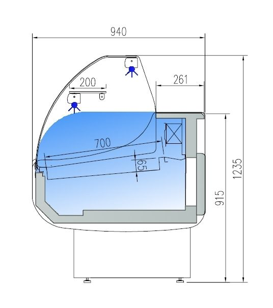 Fischkühltheke Profi 25x9 - rundes Frontglas