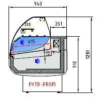 Fischkühltheke Profi 30x9 - rundes Frontglas