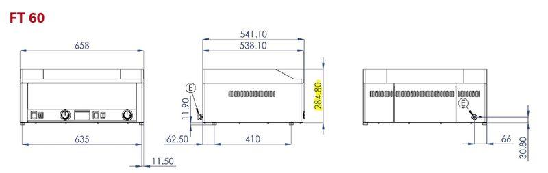 Plaque grillade électrique PROFI60½lisse, ½rainurée