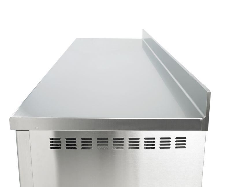 Bäckereikühltisch Premium 4/0 mit Aufkantung und Glastüren