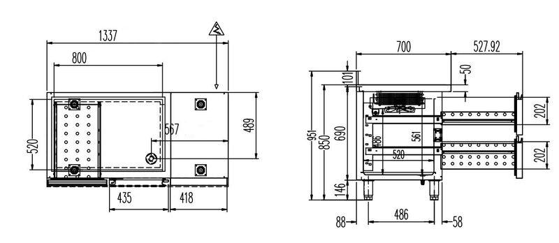 Kühltisch Profi 1/2 Superior mit Aufkantung - GN 1/1