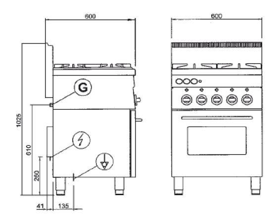 Gasherd Dexion Serie 66 - 60/60 mit Elektrobackofen und Elektrogrill