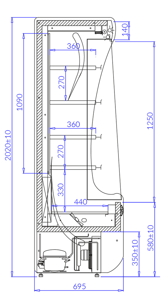 Wandkühlregal Paros PA102