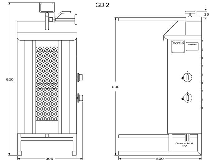 Potis Dönergrill / Gyrosgrill Propangas GD2 - achteckige Fettwanne