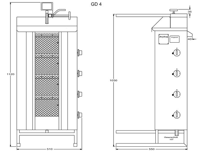 Potis Dönergrill / Gyrosgrill Erdgas GD4 - achteckige Fettwanne