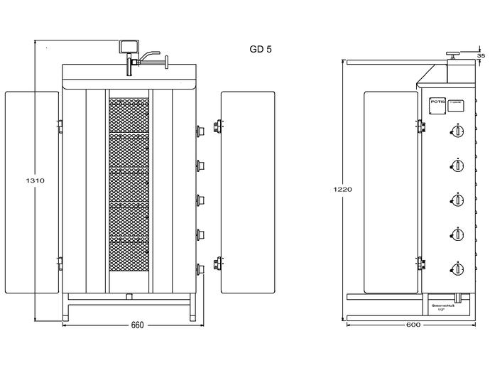 Potis Dönergrill / Gyrosgrill Erdgas GD5 - achteckige Fettwanne