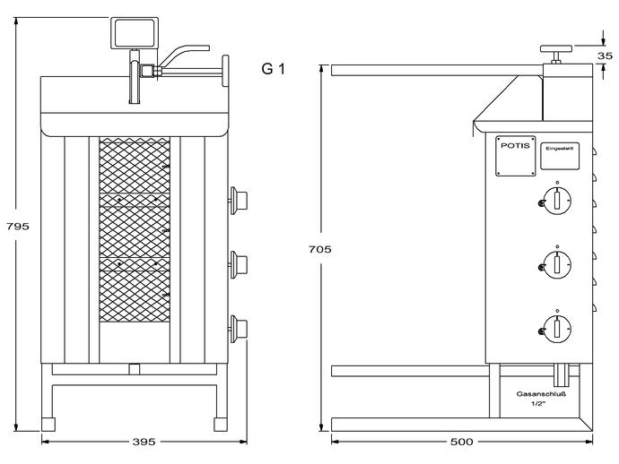 Potis Dönergrill / Gyrosgrill Erdgas G1 - achteckige Fettwanne
