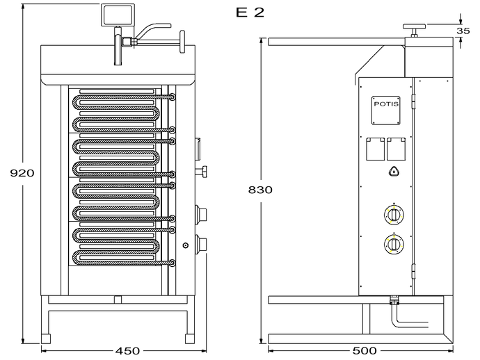 Potis Dönergrill / Gyrosgrill Elektro E2 - achteckige Fettwanne