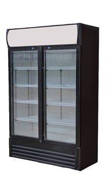 Getränkekühlschrank ECO 630 mit Leuchtaufsatz und Schiebetüren