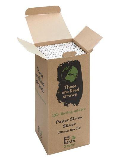 Fiesta Green biologisch abbaubare Papiertrinkhalme silber 250 Stück