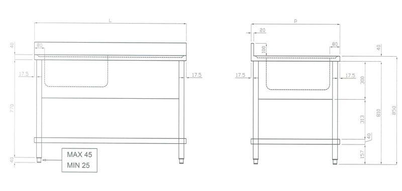 Spültisch ECO 10x7 mit 1 Becken links