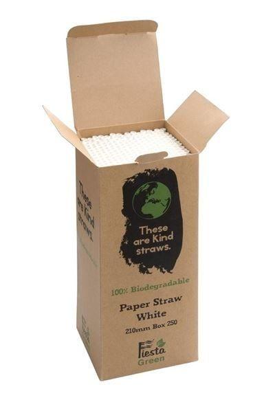 Fiesta Green biologisch abbaubare Papiertrinkhalme weiß 250 Stück