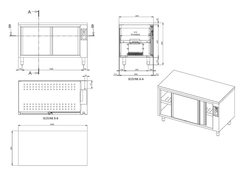 Armoire chauffante ECO 15x6 avec portes coulissantes