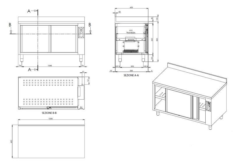 Wärmeschrank ECO 12x6 mit Schiebetüren und Aufkantung