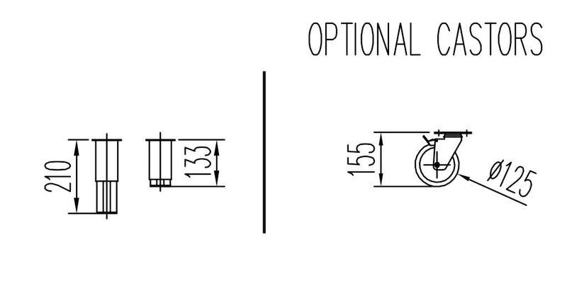 Set de roulettes Ø 125 mm pour réfrigérateurs et tables réfrigérées 4 roulettes