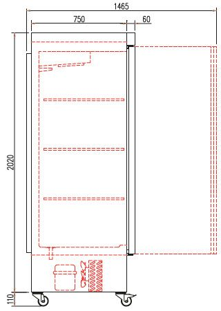 Coreco Edelstahlkühlschrank US Range 650