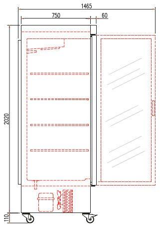 Coreco Edelstahltiefkühlschrank US Range 2200 mit Glastür