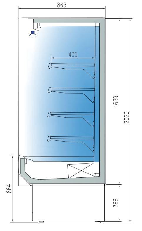 Wandkühlregal Profi 1250 Edelstahl mit Glastüren